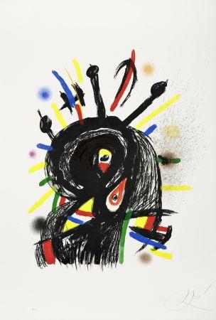 Lithographie Miró -  Le Lanceur de couteaux