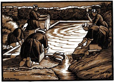 Gravure Sur Bois Moreau - LE LAVOIR / THE WASH-HOUSE - Gravure s/bois / Woodcut - 1908