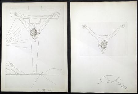 Gravure Dali - LE MANIFESTE MYSTIQUE. Les 2 gravures signées. Christ de saint Jean de la Croix