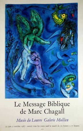 Lithographie Chagall - Le Message Biblique Musee Du Louvre Galerie Mollien