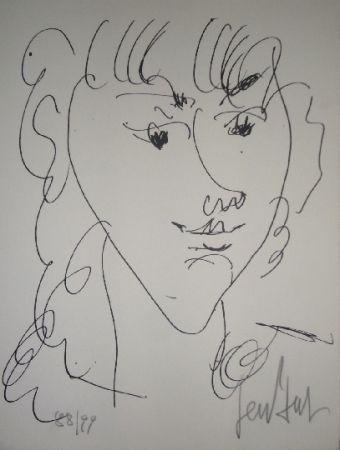Lithographie Paul  - Le modèle, portrait de Lola