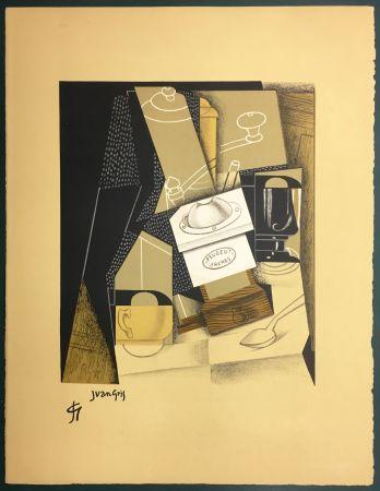 Lithographie Gris  - Le moulin à café. Lithographie. 1955