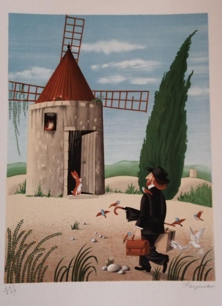 Lithographie Peynet - Le Moulin de Daudet