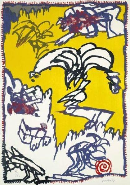 Lithographie Alechinsky - Le mythe de Cobra