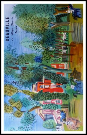 Lithographie Dufy - LE PADDOCK A DEAUVILLE