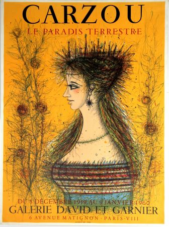 Lithographie Carzou - Le Paradis Terrestre  Galerie David et Garnier