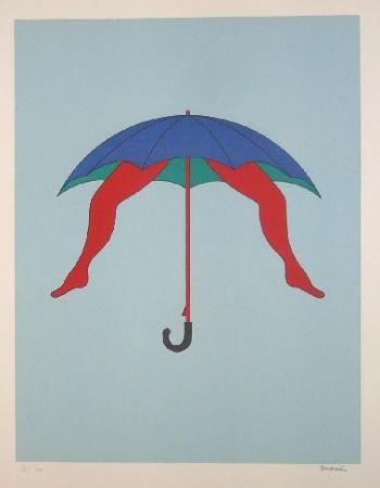 Lithographie Marien - Le parapluie