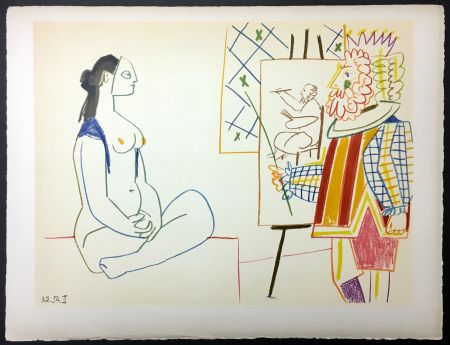Lithographie Picasso - Le peintre costumé et son modèle (de La Comédie Humaine - Verve 29-30. 1954)