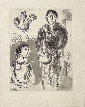Gravure Chagall - Le peintre et son modèle