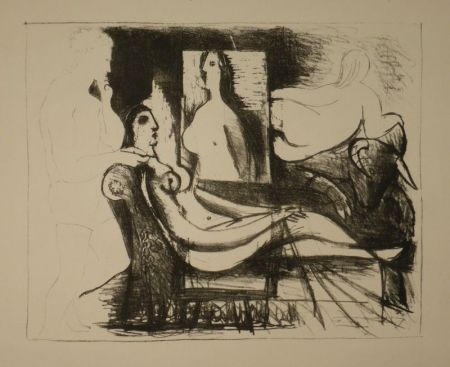 Lithographie Picasso - Le peintre et son modèle / Der Maler und sein Modell
