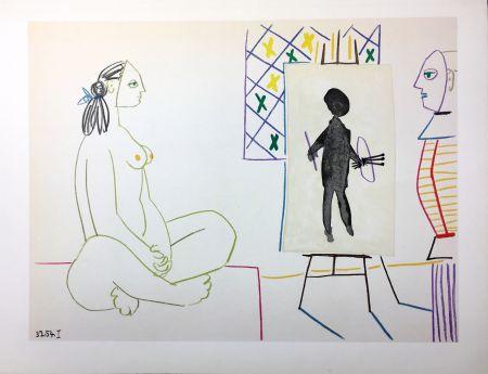 Lithographie Picasso - Le peintre masqué et son modèle (La Comédie Humaine - Verve 29-30. Vallauris1954).