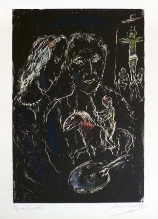 Lithographie Chagall - Le peintre sur fond noir