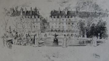 Gravure Leheutre - Le petit bassin des Tuileries