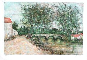 Lithographie Gantner - Le petit pont