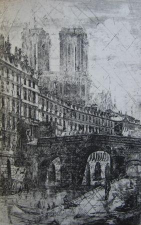 Gravure Meryon - Le Petit Pont, Paris