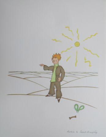 Lithographie Saint-Exupéry - Le petit prince dans le désert