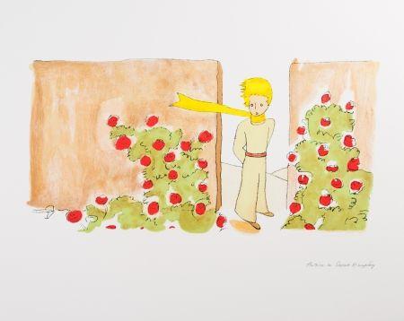 Lithographie Saint-Exupéry - Le Petit Prince dans le jardin des roses