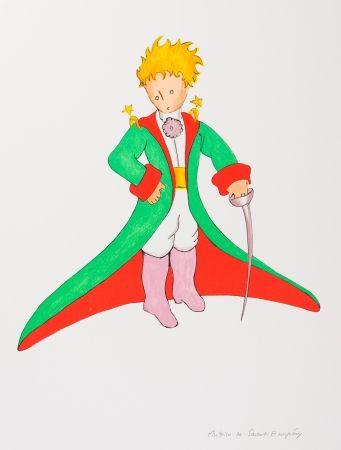 Lithographie Saint-Exupéry - Le Petit Prince en grand manteau