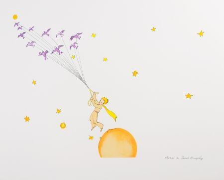 Lithographie Saint-Exupéry - Le Petit Prince en route vers une autre planète