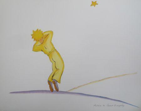 Lithographie Saint-Exupéry - Le petit prince et l étoile