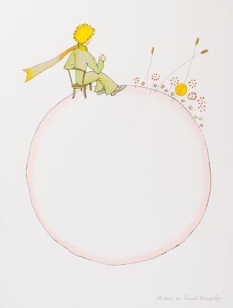 Lithographie Saint-Exupéry - Le Petit Prince et le coucher de soleil
