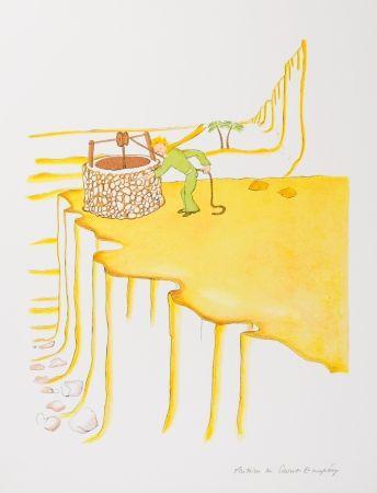 Lithographie Saint-Exupéry - Le Petit Prince et le puit dans le désert