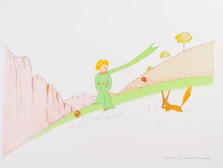 Lithographie Saint-Exupéry - Le Petit Prince et le renard