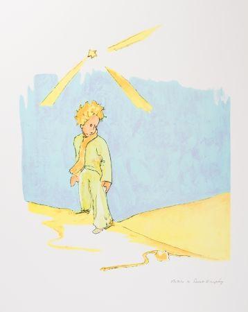 Lithographie Saint-Exupéry - Le Petit Prince et le serpent