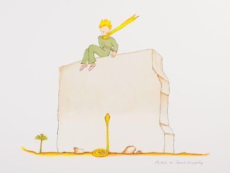 Lithographie Saint-Exupéry - Le Petit Prince et le serpent au pied du mur