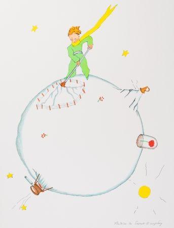 Lithographie Saint-Exupéry - Le Petit Prince et le volcan