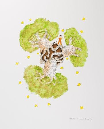 Lithographie Saint-Exupéry - Le Petit Prince et les baobabs