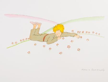 Lithographie Saint-Exupéry - Le Petit Prince parmi les fleurs