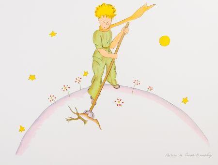 Lithographie Saint-Exupéry - Le Petit Prince sur sa planète