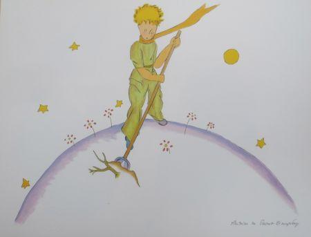 Lithographie Saint-Exupéry - Le petit prince sur sa planéte