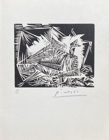 Linogravure Picasso - Le Pigeonneau