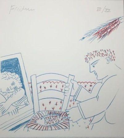 Lithographie Fassianos - Le poisson sur la chaise