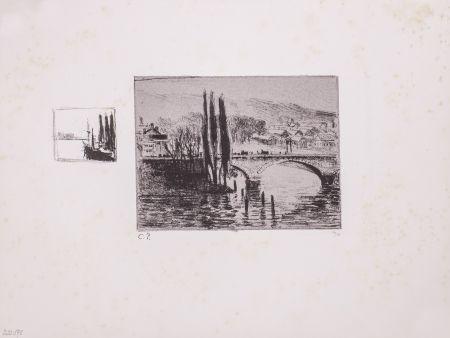Lithographie Pissarro - Le Pont Corneille