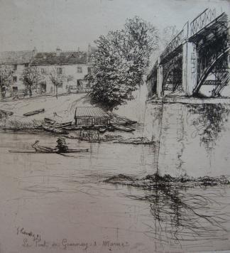 Gravure Leheutre - Le Pont de Gournay, de profil