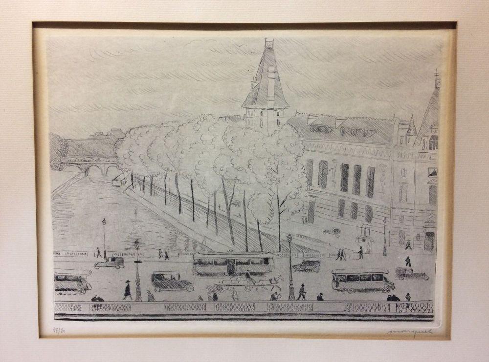 Eau-Forte Marquet - Le Pont Saint-Michel, Paris. 1929. Signé et numéroté