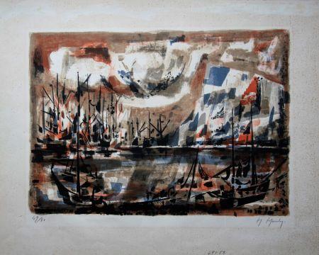 Lithographie Mouly - Le port