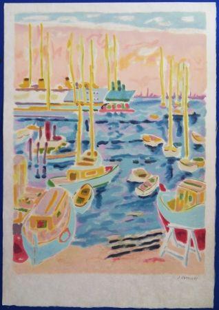 Lithographie Cavailles - Le port de Cannes
