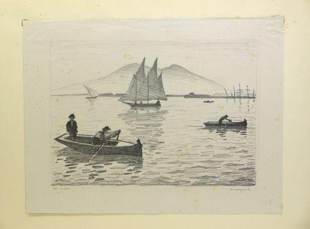 Lithographie Marquet - Le Port de Naples, 1926. Signé et numérotée.