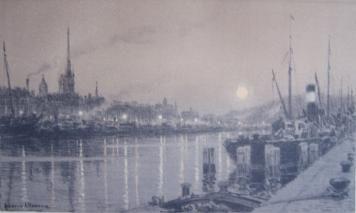 Lithographie Alleaume - Le port de Rouen