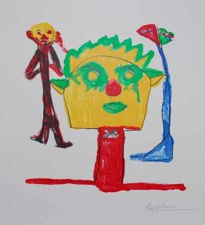 Lithographie Ionesco - Le portrait et ses fils