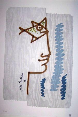 Lithographie Cocteau - Le profil au poisson