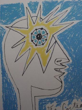 Lithographie Cocteau - Le profil  oeil à l' etoile