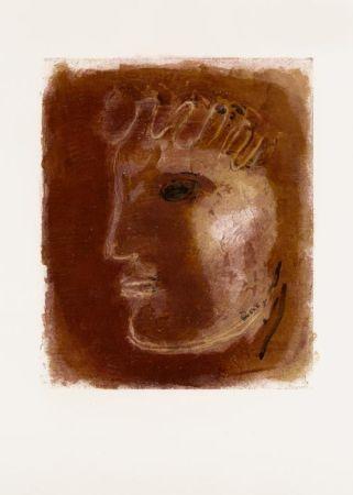 Lithographie Fautrier - Le Profil rouge (1942)