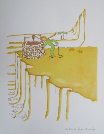 Lithographie Saint-Exupéry - Le puits dans le désert