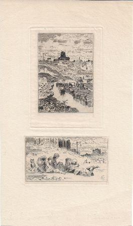 Gravure Buhot - Le puits de la Butte-aux-Cailles [and] Les chiffonniers