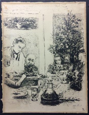 Lithographie Vuillard  - Le repas